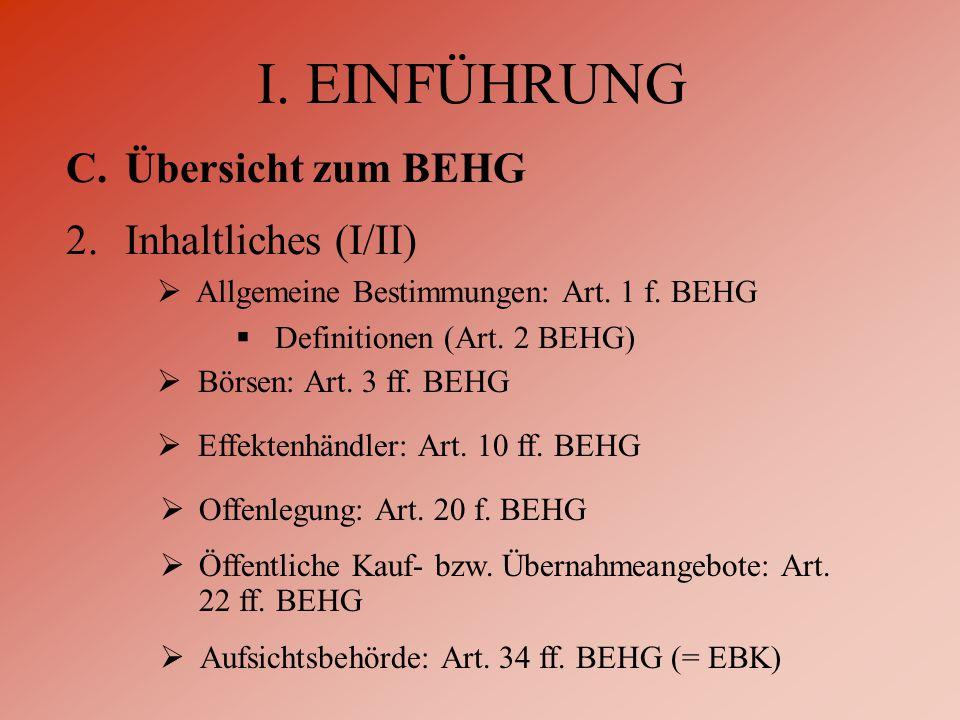  Börsen: Art. 3 ff. BEHG  Effektenhändler: Art.