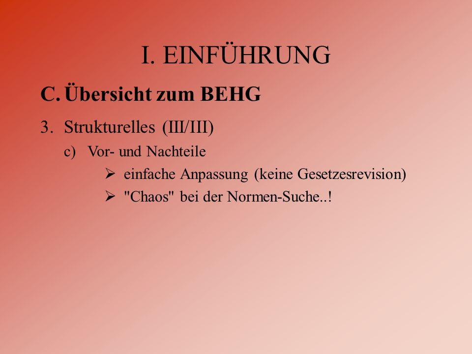 I. EINFÜHRUNG C.Übersicht zum BEHG 3.Strukturelles (III/III) c)Vor- und Nachteile  einfache Anpassung (keine Gesetzesrevision) 