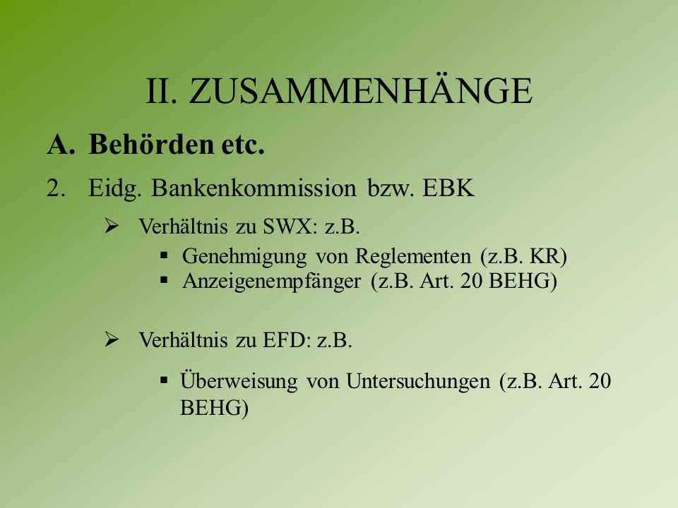 II. ZUSAMMENHÄNGE A. Behörden etc. 2.Eidg. Bankenkommission bzw.