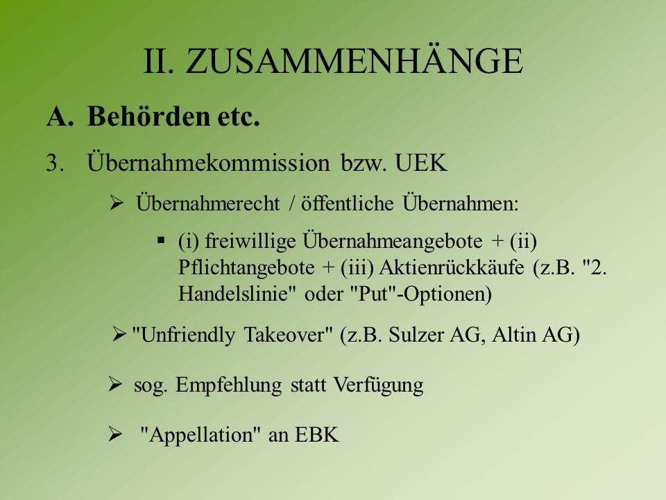 II. ZUSAMMENHÄNGE A.Behörden etc. 3.Übernahmekommission bzw.