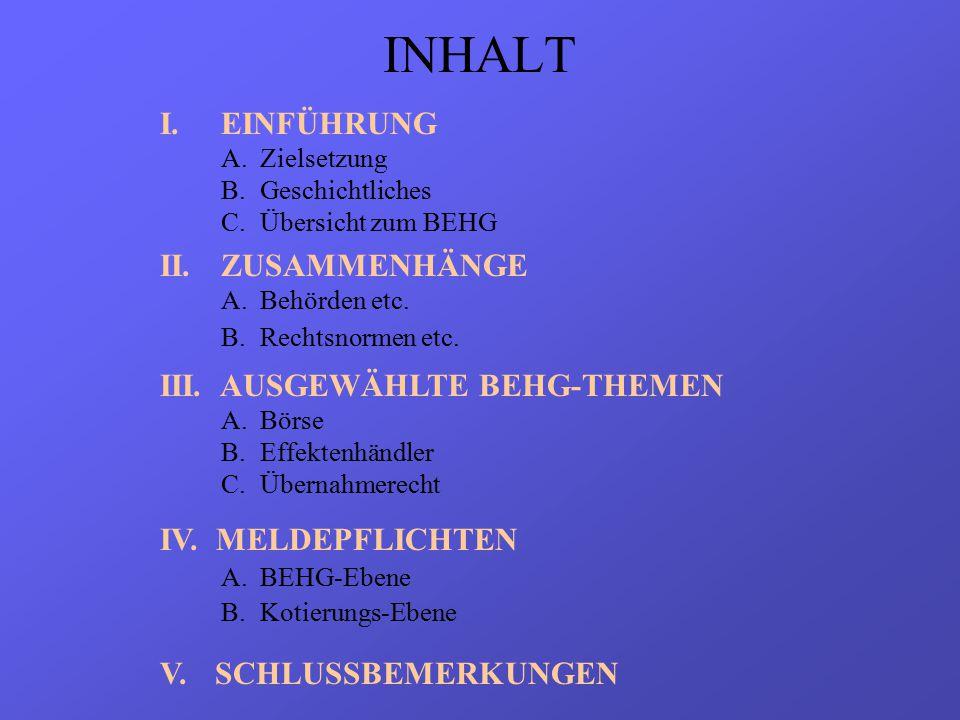 INHALT I.EINFÜHRUNG A.Zielsetzung B.Geschichtliches C.Übersicht zum BEHG II.ZUSAMMENHÄNGE A.Behörden etc.