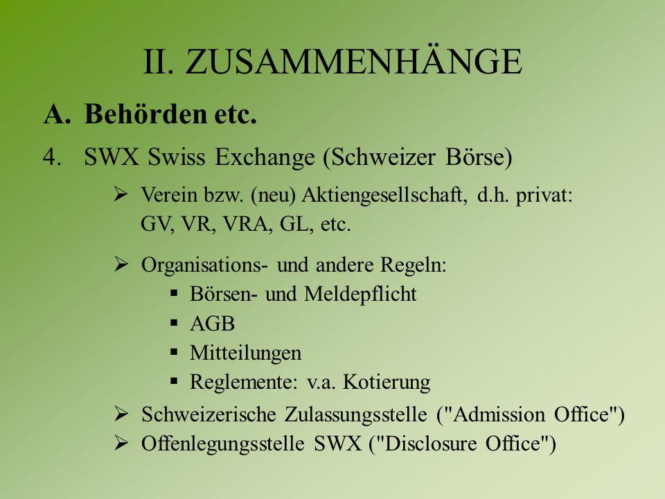 II. ZUSAMMENHÄNGE A.Behörden etc. 4.SWX Swiss Exchange (Schweizer Börse)  Verein bzw.