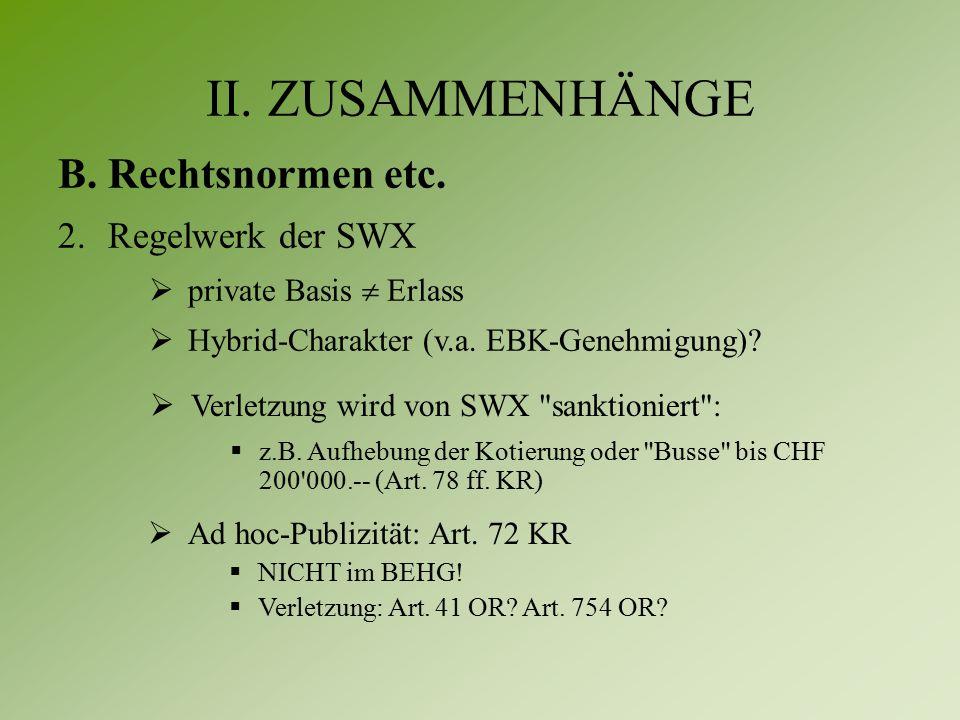 II. ZUSAMMENHÄNGE B.Rechtsnormen etc.
