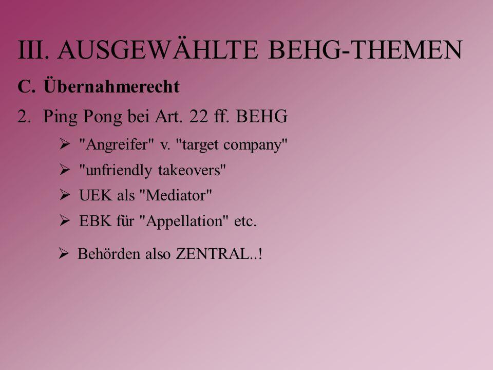 III. AUSGEWÄHLTE BEHG-THEMEN C.Übernahmerecht 2.Ping Pong bei Art.