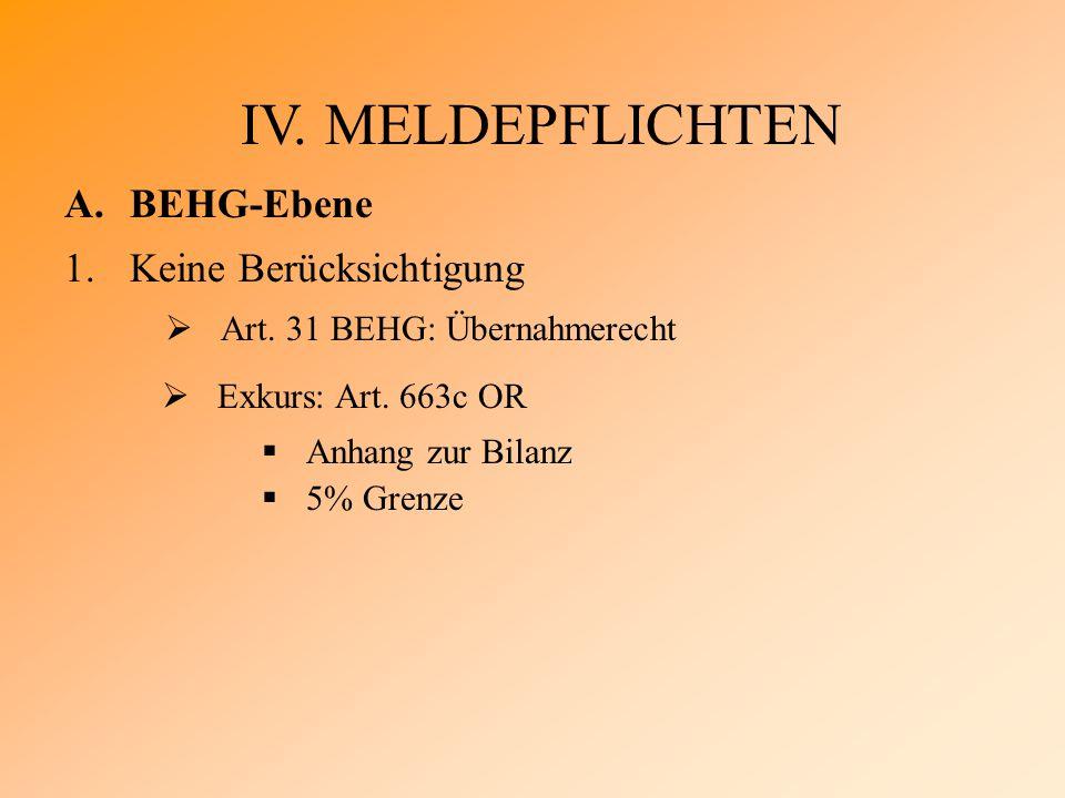 IV. MELDEPFLICHTEN A.BEHG-Ebene 1.Keine Berücksichtigung  Art.