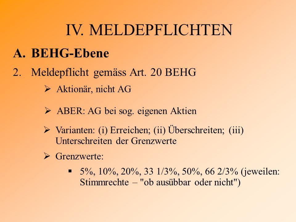 IV. MELDEPFLICHTEN A.BEHG-Ebene 2.Meldepflicht gemäss Art.