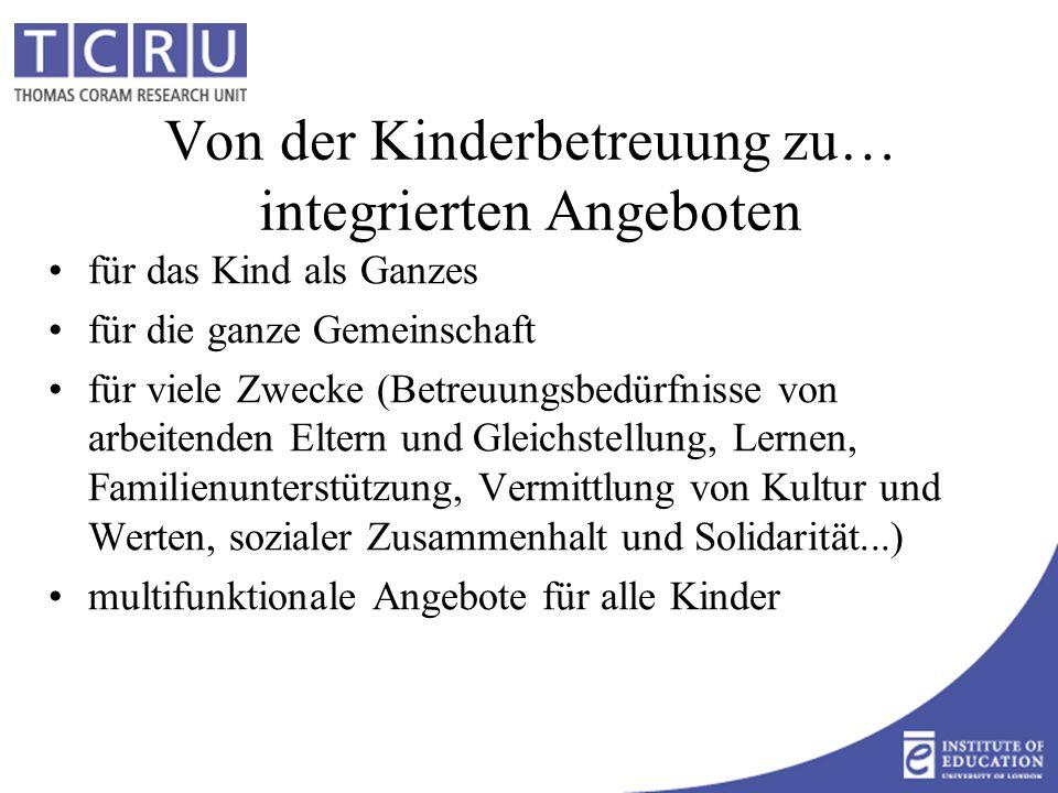 Europa hat Konzepte für integrierte Angebote Pädagogisches Konzept Theorie+Praxis+Beruf Betreuung+Bildung+'Erziehung' Der Pädagoge wendet sich an das ganze Kind, d.h.