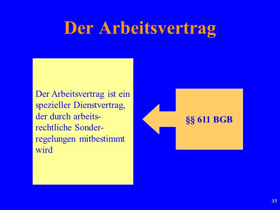 35 Der Arbeitsvertrag Der Arbeitsvertrag ist ein spezieller Dienstvertrag, der durch arbeits- rechtliche Sonder- regelungen mitbestimmt wird §§ 611 BGB