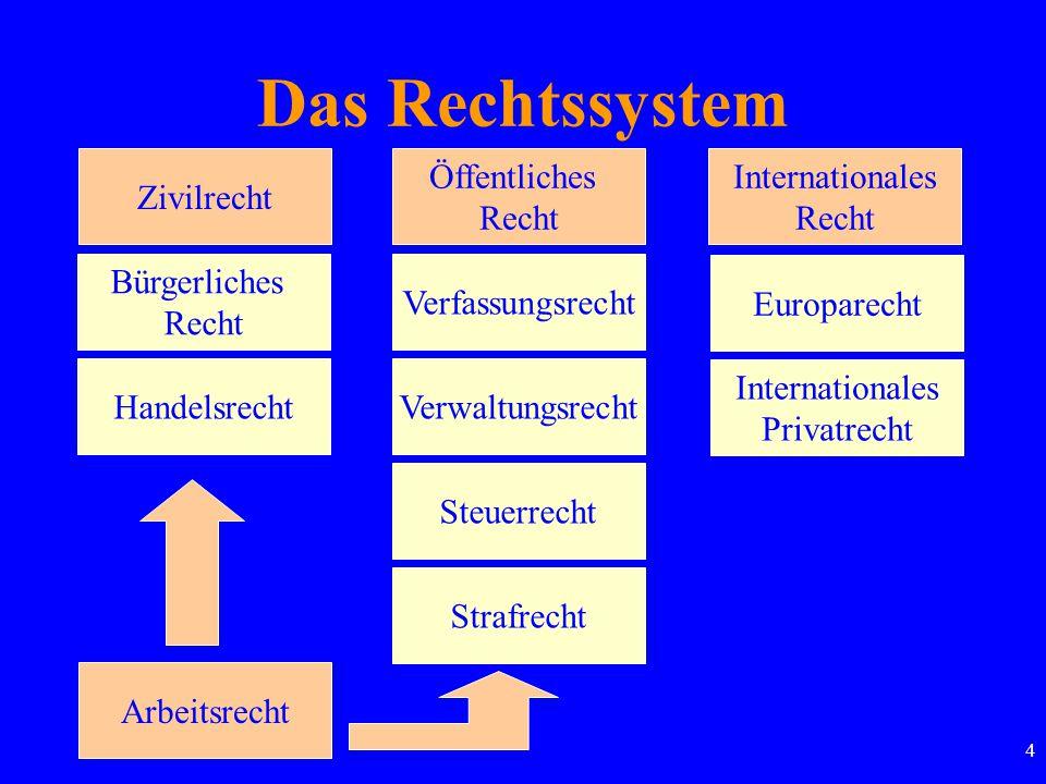4 Das Rechtssystem Zivilrecht Öffentliches Recht Internationales Recht Bürgerliches Recht Handelsrecht Arbeitsrecht Strafrecht Steuerrecht Verwaltungs
