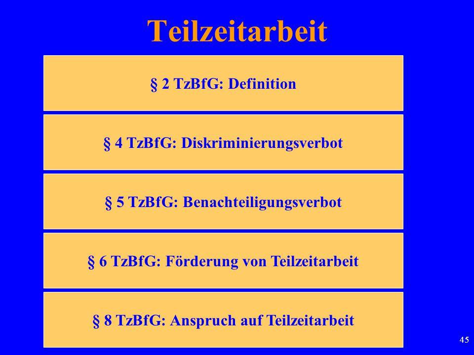45 Teilzeitarbeit § 2 TzBfG: Definition § 4 TzBfG: Diskriminierungsverbot § 5 TzBfG: Benachteiligungsverbot § 6 TzBfG: Förderung von Teilzeitarbeit § 8 TzBfG: Anspruch auf Teilzeitarbeit