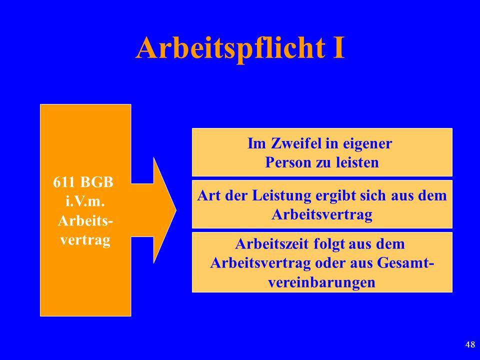 48 Arbeitspflicht I 611 BGB i.V.m. Arbeits- vertrag Im Zweifel in eigener Person zu leisten Art der Leistung ergibt sich aus dem Arbeitsvertrag Arbeit