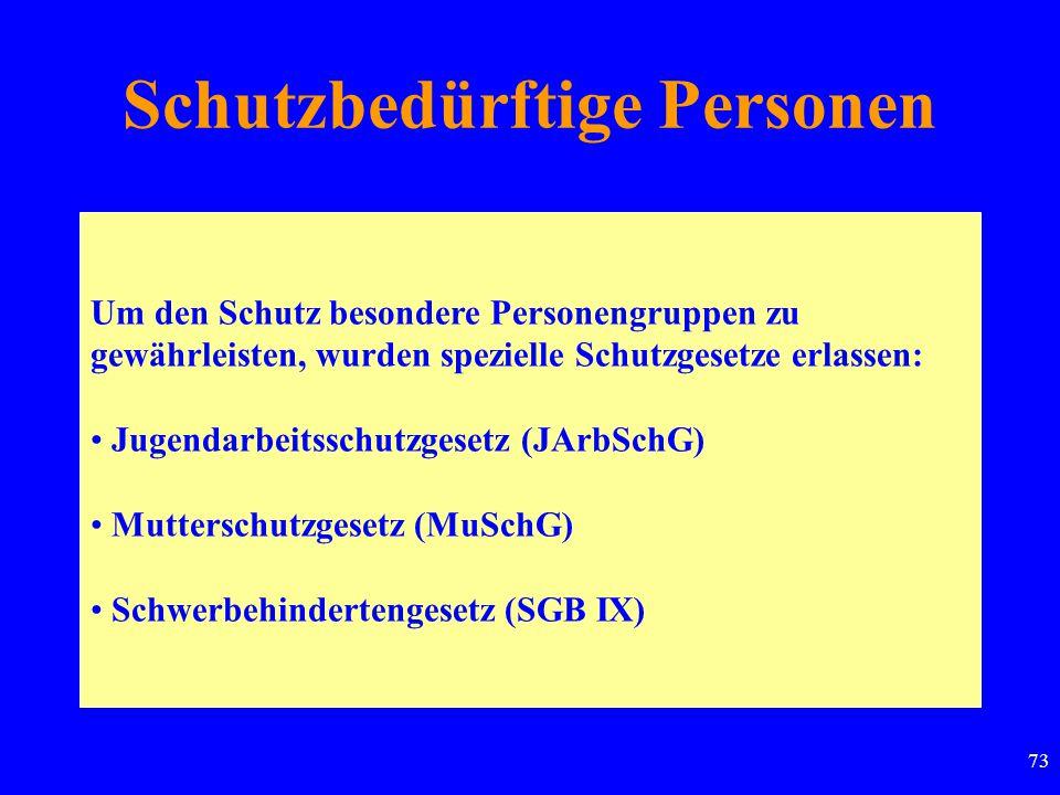 73 Schutzbedürftige Personen Um den Schutz besondere Personengruppen zu gewährleisten, wurden spezielle Schutzgesetze erlassen: Jugendarbeitsschutzgesetz (JArbSchG) Mutterschutzgesetz (MuSchG) Schwerbehindertengesetz (SGB IX)