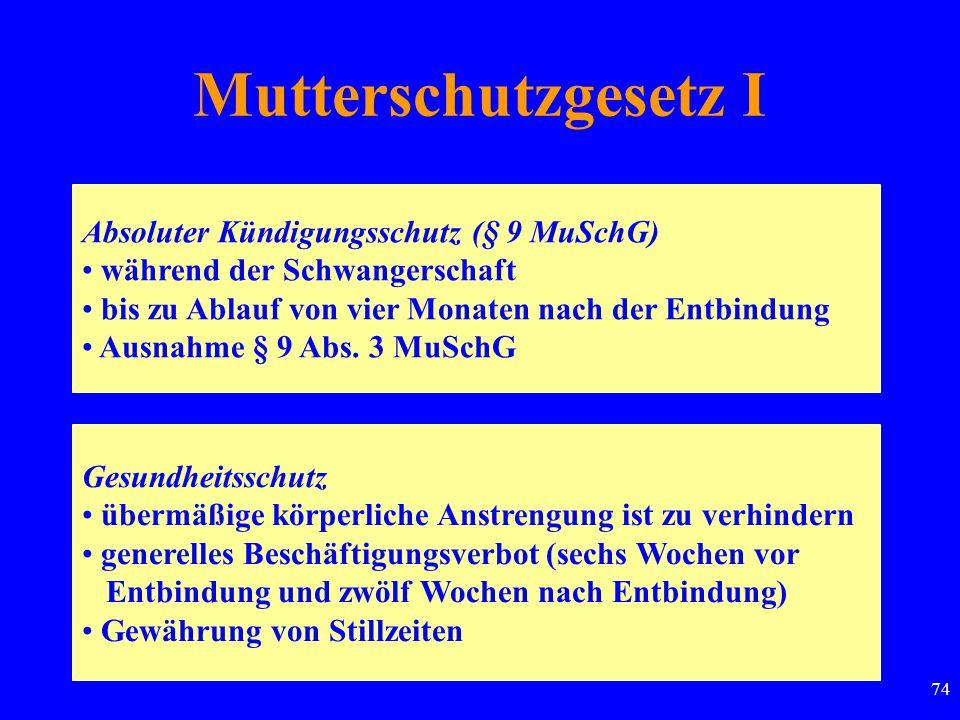 74 Mutterschutzgesetz I Absoluter Kündigungsschutz (§ 9 MuSchG) während der Schwangerschaft bis zu Ablauf von vier Monaten nach der Entbindung Ausnahme § 9 Abs.