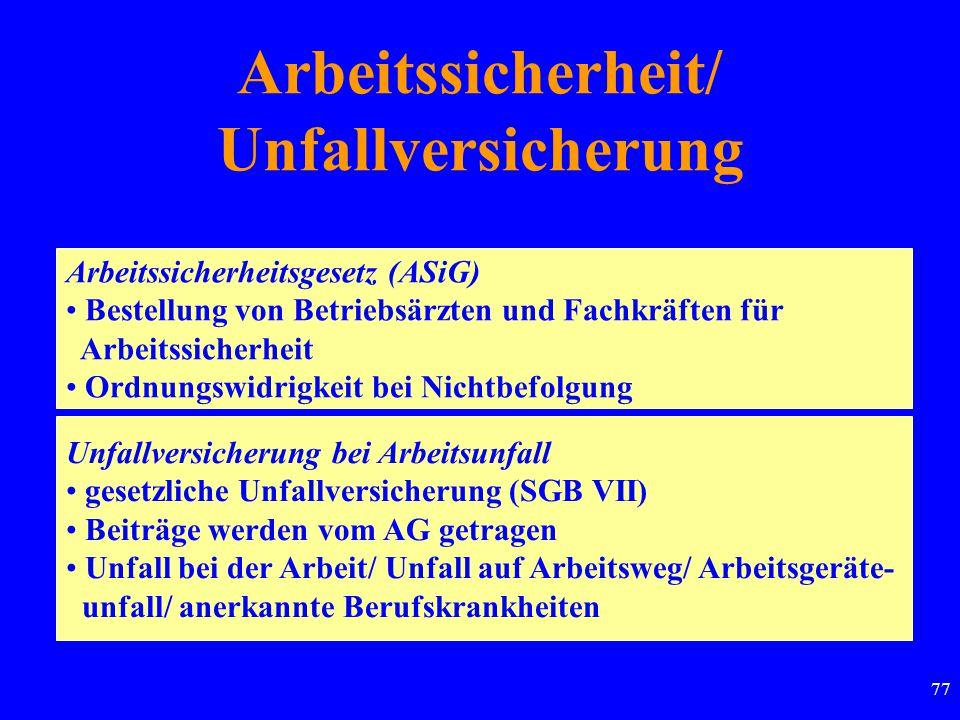 77 Arbeitssicherheit/ Unfallversicherung Arbeitssicherheitsgesetz (ASiG) Bestellung von Betriebsärzten und Fachkräften für Arbeitssicherheit Ordnungsw