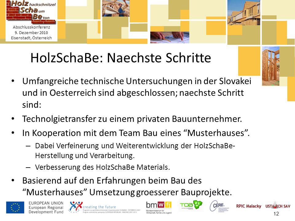 Titelmasterformat durch Klicken bearbeiten Textmasterformate durch Klicken bearbeiten – Zweite Ebene Dritte Ebene – Vierte Ebene » Fünfte Ebene 12 HolzSchaBe Holzhackschnitzel- Schaum-Betonmischung Abschlusskonferenz 9.