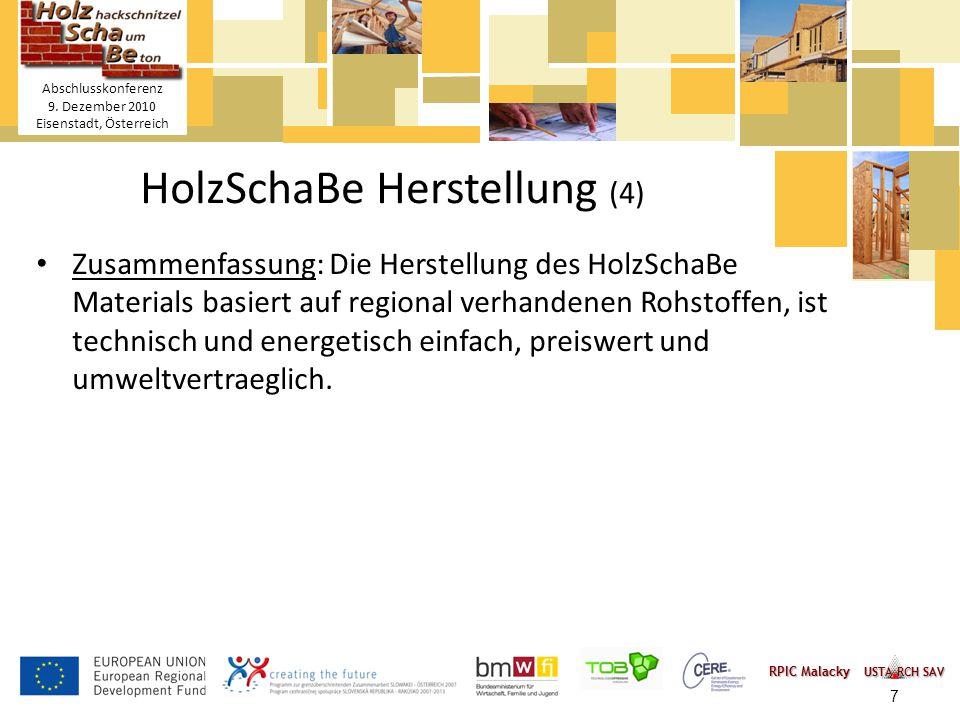 Titelmasterformat durch Klicken bearbeiten Textmasterformate durch Klicken bearbeiten – Zweite Ebene Dritte Ebene – Vierte Ebene » Fünfte Ebene 7 HolzSchaBe Holzhackschnitzel- Schaum-Betonmischung Abschlusskonferenz 9.