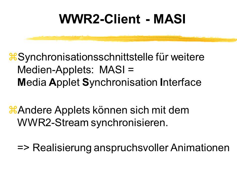 WWR2-Client - MASI zSynchronisationsschnittstelle für weitere Medien-Applets: MASI = Media Applet Synchronisation Interface zAndere Applets können sich mit dem WWR2-Stream synchronisieren.