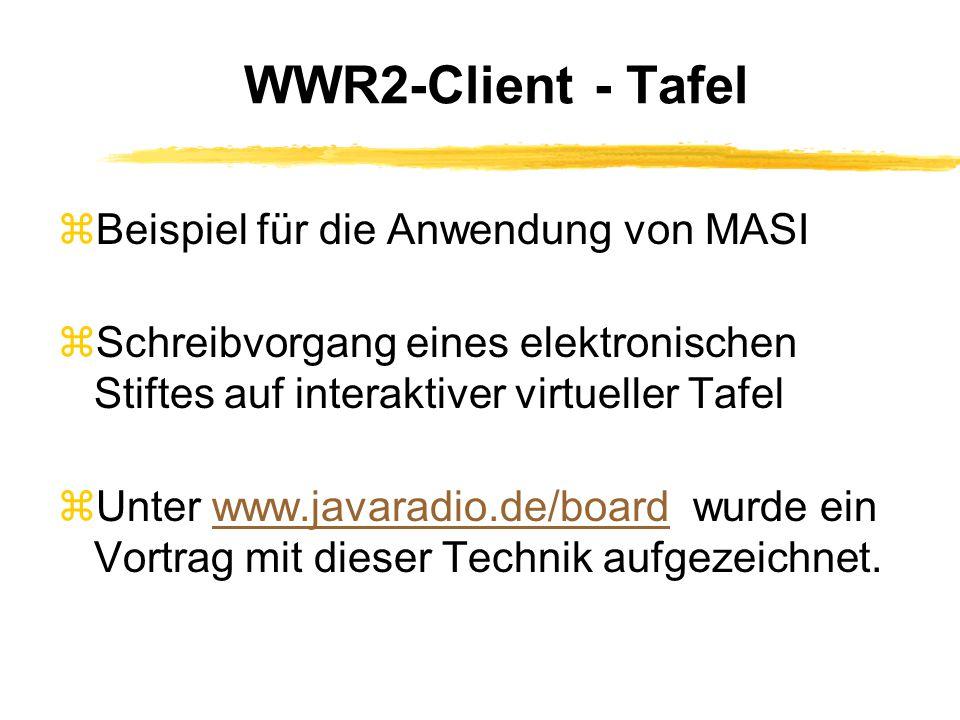 WWR2-Client - Tafel zBeispiel für die Anwendung von MASI zSchreibvorgang eines elektronischen Stiftes auf interaktiver virtueller Tafel  Unter www.javaradio.de/board wurde ein Vortrag mit dieser Technik aufgezeichnet.www.javaradio.de/board