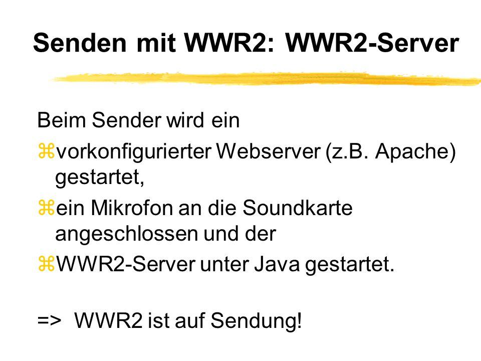 Senden mit WWR2: WWR2-Server Beim Sender wird ein zvorkonfigurierter Webserver (z.B.