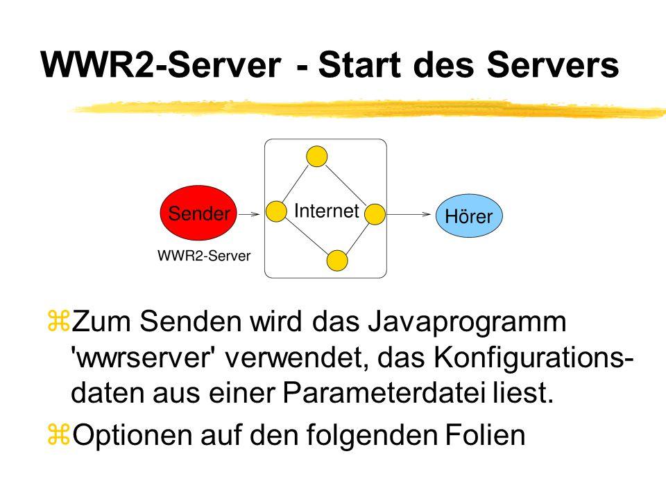 WWR2-Server - Start des Servers zZum Senden wird das Javaprogramm wwrserver verwendet, das Konfigurations- daten aus einer Parameterdatei liest.