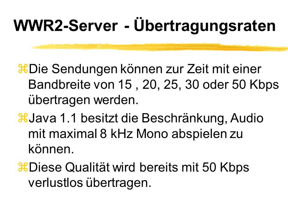 WWR2-Server - Übertragungsraten zDie Sendungen können zur Zeit mit einer Bandbreite von 15, 20, 25, 30 oder 50 Kbps übertragen werden.