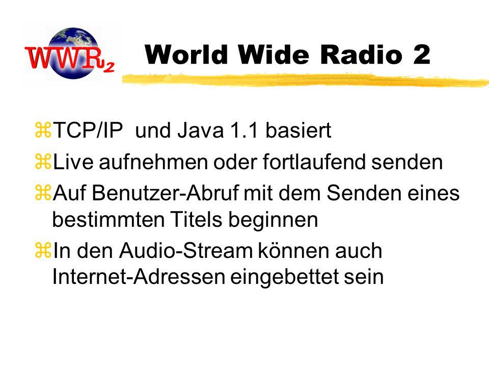 World Wide Radio 2 zTCP/IP und Java 1.1 basiert zLive aufnehmen oder fortlaufend senden zAuf Benutzer-Abruf mit dem Senden eines bestimmten Titels beginnen zIn den Audio-Stream können auch Internet-Adressen eingebettet sein