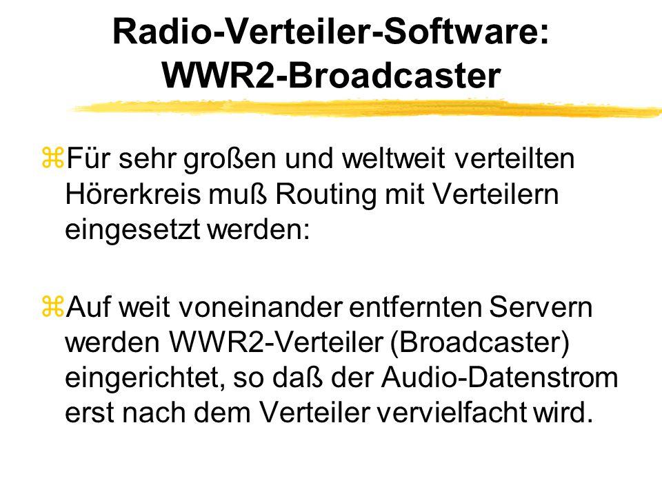 Radio-Verteiler-Software: WWR2-Broadcaster zFür sehr großen und weltweit verteilten Hörerkreis muß Routing mit Verteilern eingesetzt werden: zAuf weit voneinander entfernten Servern werden WWR2-Verteiler (Broadcaster) eingerichtet, so daß der Audio-Datenstrom erst nach dem Verteiler vervielfacht wird.