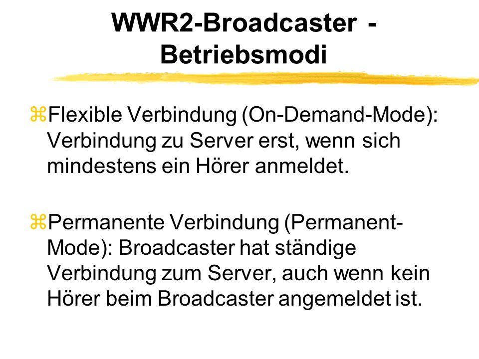 WWR2-Broadcaster - Betriebsmodi zFlexible Verbindung (On-Demand-Mode): Verbindung zu Server erst, wenn sich mindestens ein Hörer anmeldet.