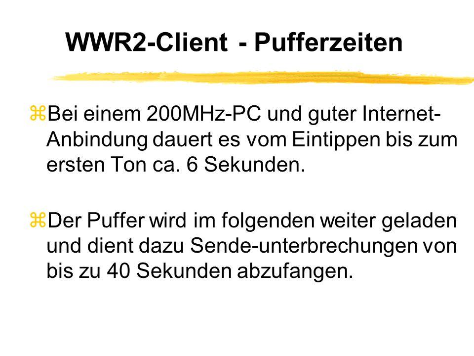 WWR2-Broadcaster - Beispiel zLive-Übertragung von kulturellem Ereignis zNur geringe Bandbreite vor Ort: ISDN zWWR2-Server: einfacher Linux-PC mit ISDN-Karte und Mikrofon vor Ort zÜberträgt Signal an einen WWR2- Broadcaster in der Zentrale mit großer Bandbreite