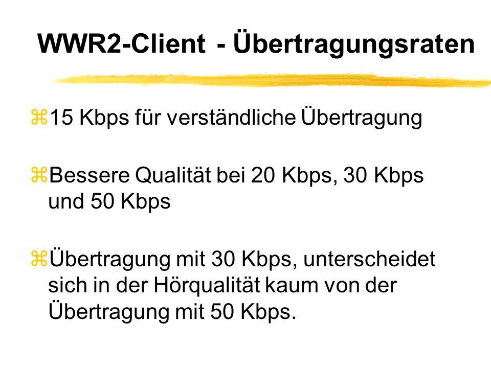 WWR2-Client - Übertragungsraten z15 Kbps für verständliche Übertragung zBessere Qualität bei 20 Kbps, 30 Kbps und 50 Kbps zÜbertragung mit 30 Kbps, unterscheidet sich in der Hörqualität kaum von der Übertragung mit 50 Kbps.