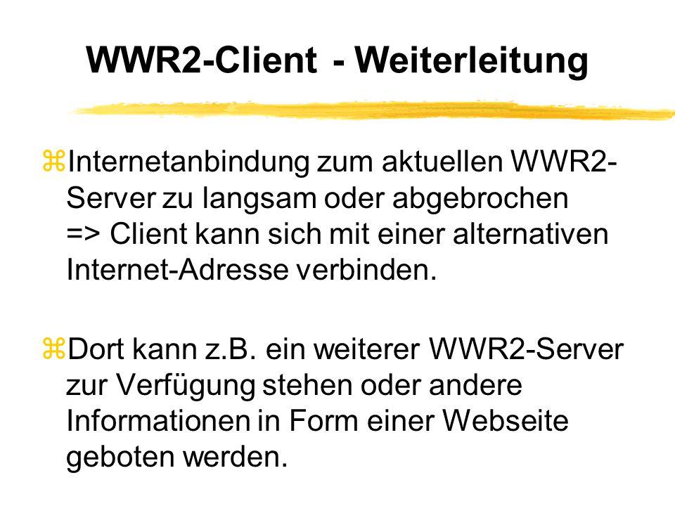 WWR2 auf Abruf: WWR2-Encoder zFür jederzeit abrufbare WWR2-Aufnahmen zAudio-Dateien im WWR2-Format codiert zKann ohne WWR2-Server von jeder normalen Internet-Webseite zur Verfügung gestellt werden zDatei enthält neben den Audio-Daten den sehr kleinen WWR2-Client (10 KB) zMit allen Java-fähigen Browsern abspielbar