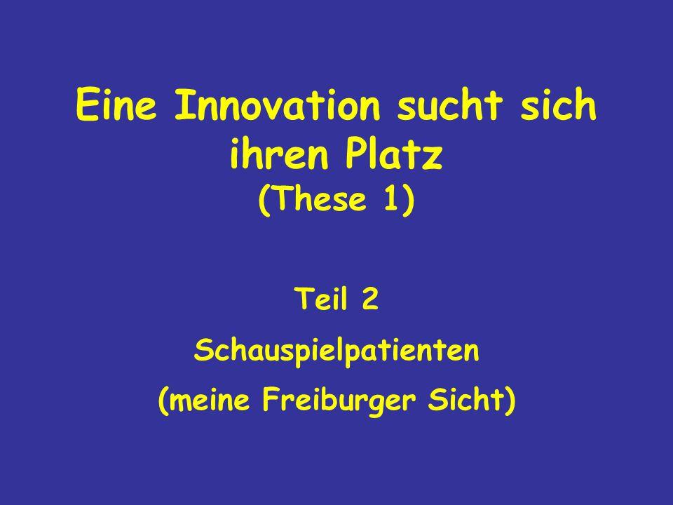 Eine Innovation sucht sich ihren Platz (These 1) Teil 2 Schauspielpatienten (meine Freiburger Sicht)