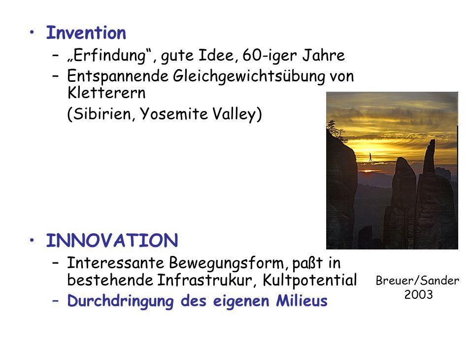 """Invention –""""Erfindung , gute Idee, 60-iger Jahre –Entspannende Gleichgewichtsübung von Kletterern (Sibirien, Yosemite Valley) INNOVATION –Interessante Bewegungsform, paßt in bestehende Infrastrukur, Kultpotential –Durchdringung des eigenen Milieus Breuer/Sander 2003"""