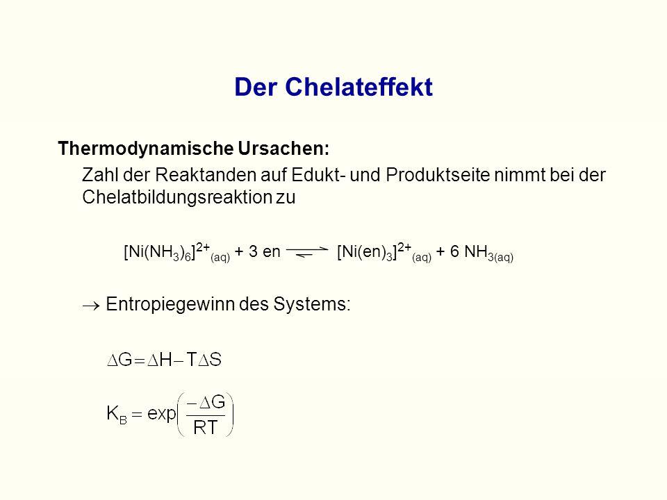 Thermodynamische Ursachen: Zahl der Reaktanden auf Edukt- und Produktseite nimmt bei der Chelatbildungsreaktion zu [Ni(NH 3 ) 6 ] 2+ (aq) + 3 en [Ni(en) 3 ] 2+ (aq) + 6 NH 3(aq)  Entropiegewinn des Systems: