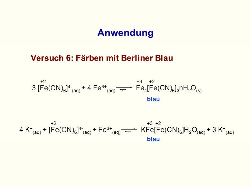 Anwendung Versuch 6: Färben mit Berliner Blau +2+3+2 3 [Fe(CN) 6 ] 4- (aq) + 4 Fe 3+ (aq) Fe 4 [Fe(CN) 6 ] 3 nH 2 O (s) blau 4 K + (aq) + [Fe(CN) 6 ] 4- (aq) + Fe 3+ (aq) KFe[Fe(CN) 6 ]H 2 O (aq) + 3 K + (aq) +2+3+2 blau