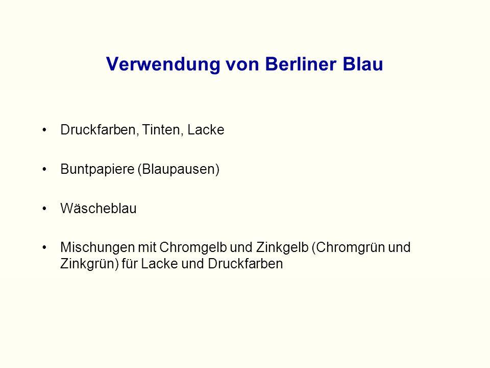 Verwendung von Berliner Blau Druckfarben, Tinten, Lacke Buntpapiere (Blaupausen) Wäscheblau Mischungen mit Chromgelb und Zinkgelb (Chromgrün und Zinkgrün) für Lacke und Druckfarben