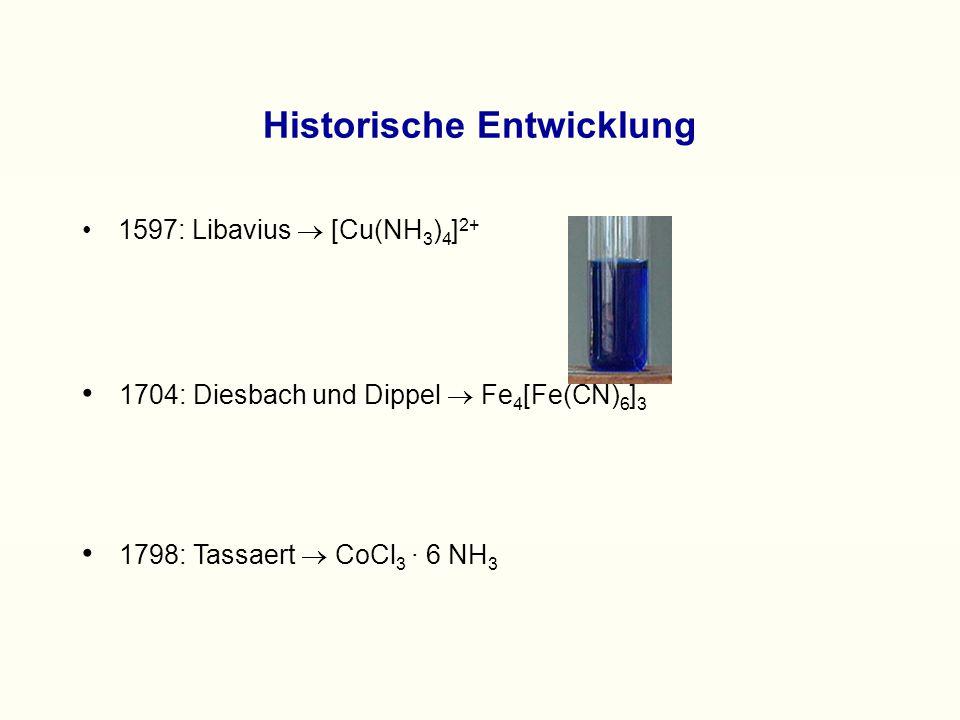 Historische Entwicklung 1597: Libavius  [Cu(NH 3 ) 4 ] 2+ 1798: Tassaert  CoCl 3 · 6 NH 3 1704: Diesbach und Dippel  Fe 4 [Fe(CN) 6 ] 3