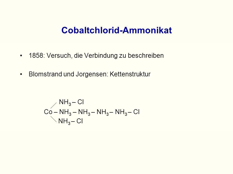 Die erste Komplexbindungstheorie 1893: erster entscheidender Durchbruch durch Alfred Werner Begründung der Koordinationslehre  Bindung in innerer und äußerer Sphäre Alfred Werner 1866 – 1919