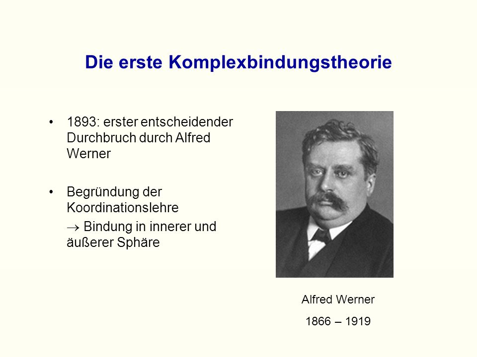 Die Wernersche Theorie (1) Jedes Ion verfügt über Hauptvalenzen.