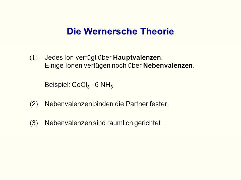 Struktur des Cobaltchlorid-Ammonikats nach Werner: Hexaammincobalt(III)chlorid + 3 Cl -