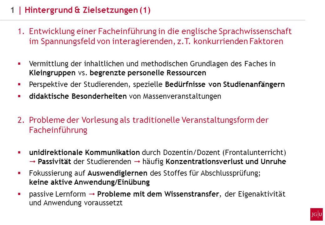 1.Entwicklung einer Facheinführung in die englische Sprachwissenschaft im Spannungsfeld von interagierenden, z.T.
