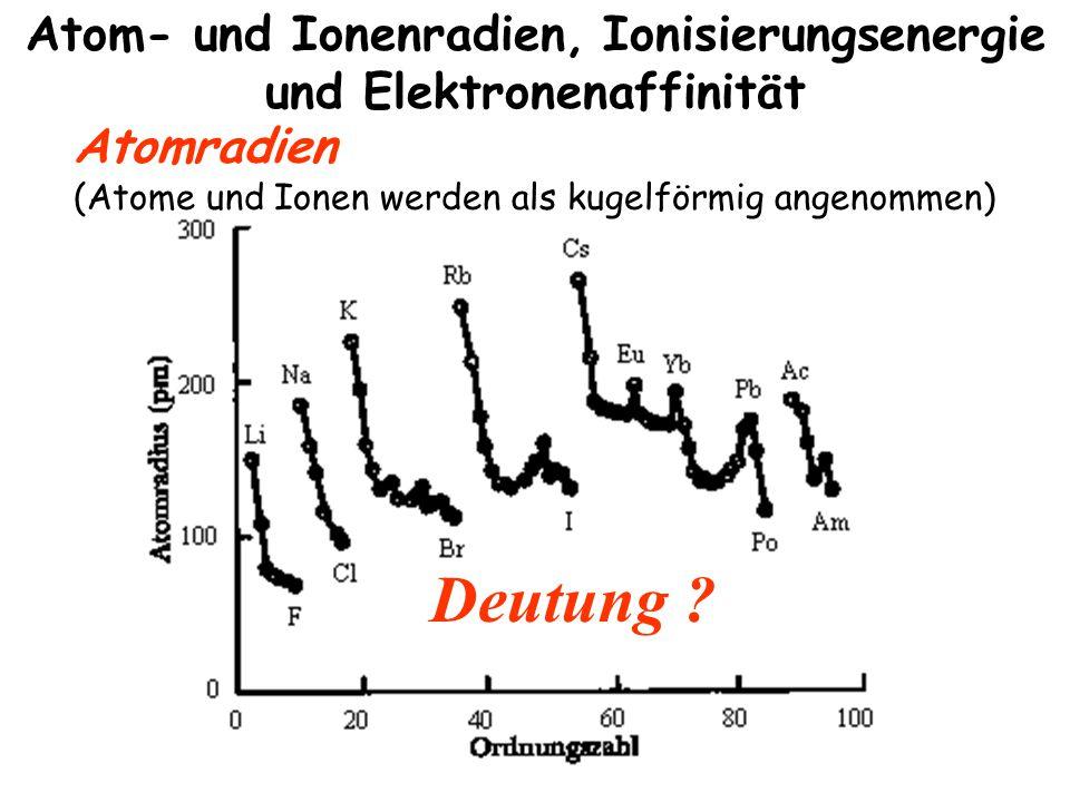 Atom- und Ionenradien, Ionisierungsenergie und Elektronenaffinität Atomradien (Atome und Ionen werden als kugelförmig angenommen) Deutung ?