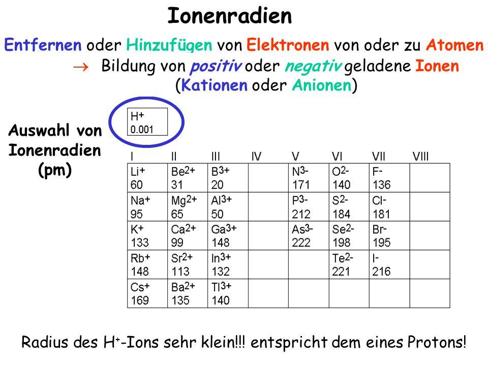 Entfernen oder Hinzufügen von Elektronen von oder zu Atomen Ionenradien Auswahl von Ionenradien (pm) Radius des H + -Ions sehr klein!!.