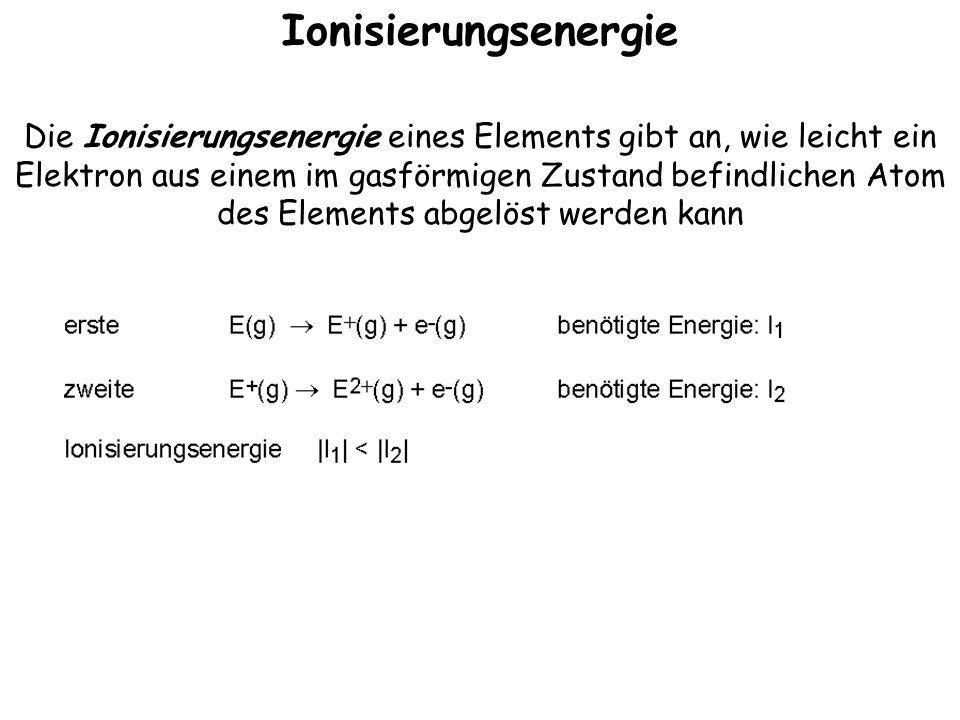 Ionisierungsenergie Die Ionisierungsenergie eines Elements gibt an, wie leicht ein Elektron aus einem im gasförmigen Zustand befindlichen Atom des Elements abgelöst werden kann