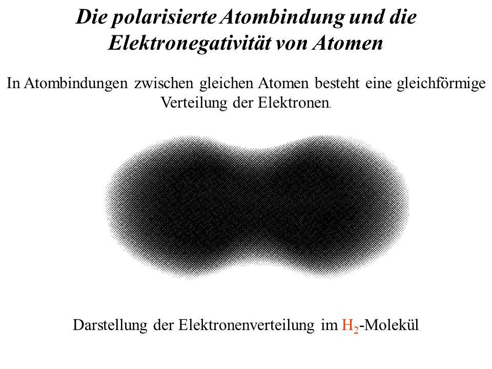Die polarisierte Atombindung und die Elektronegativität von Atomen In Atombindungen zwischen gleichen Atomen besteht eine gleichförmige Verteilung der Elektronen.