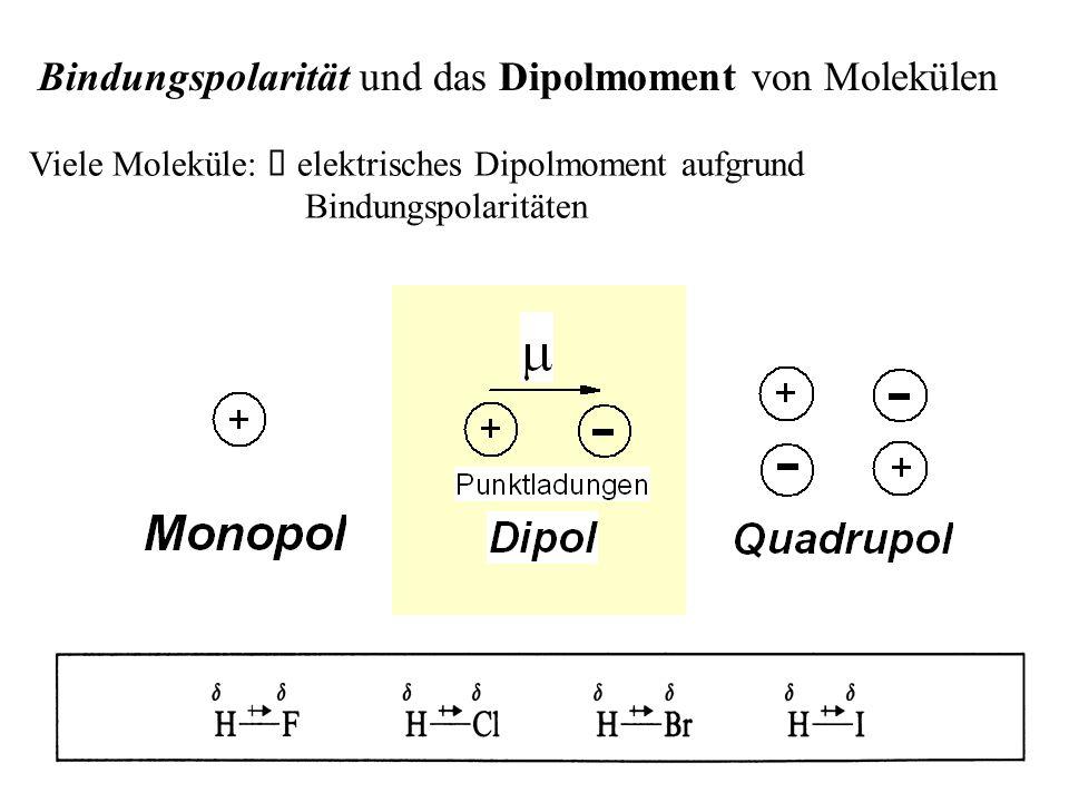 Bindungspolarität und das Dipolmoment von Molekülen Viele Moleküle:   elektrisches Dipolmoment aufgrund Bindungspolaritäten