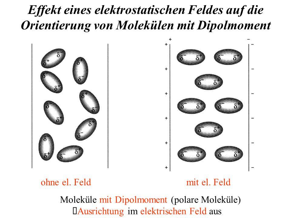 Effekt eines elektrostatischen Feldes auf die Orientierung von Molekülen mit Dipolmoment mit el.