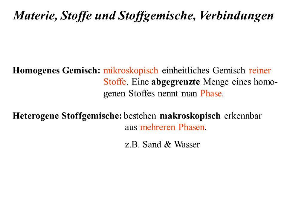 Homogenes Gemisch: mikroskopisch einheitliches Gemisch reiner Stoffe.