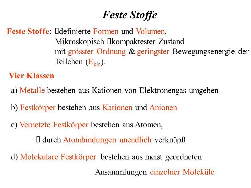 Feste Stoffe Feste Stoffe:  definierte Formen und Volumen.