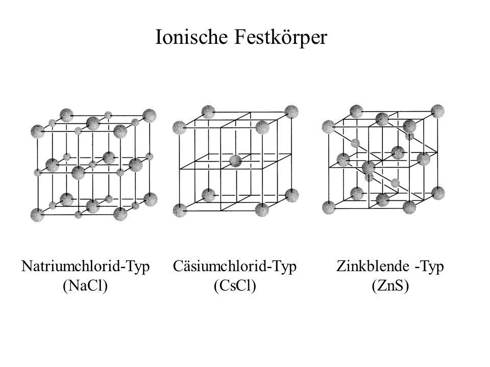 Natriumchlorid-Typ (NaCl) Cäsiumchlorid-Typ (CsCl) Zinkblende -Typ (ZnS) Ionische Festkörper